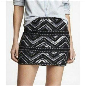 Express Black Silver Sequin Skirt Small
